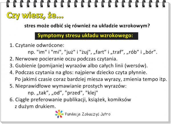 Typowe symptomy stresu układu wzrokowego u dzieci